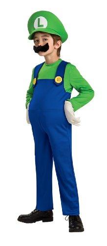 Kind Luigi Deluxe Kostüm - Super Mario Bros. LUIGI Deluxe Kostüm, Jungen, Gr. 128 Medium