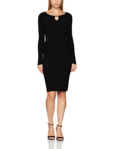 Comma Damen Kleid 85899820420 Grau (Black 9999), 40