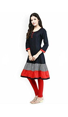 Pashimo Black Color Stylish Cotton Anarkali Kurtis for Women Party Wear