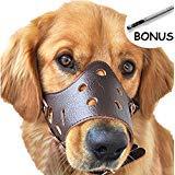 SEVICAT Bozales para Perros Cuero Anti-ladridos Anti-mordida Perro Esenciales Seguridad ... (L, Brown)
