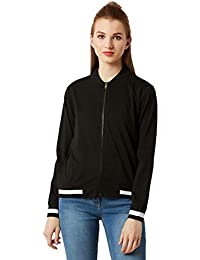 Miss Chase Women's Black Ribbed Bomber Jacket