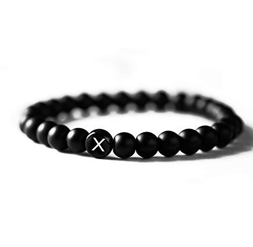 Personalisiertes Namensarmband/Partnerarmbänder von BAVELA - aus edlen Onyx-Perlen (6 mm) - das perfekte Geschenk um seine Verbundenheit zu zeigen