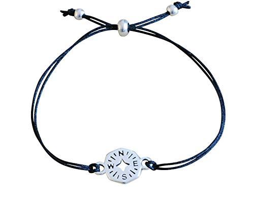 Armband Kompass Textil Band schwarz Damen größenverstellbar