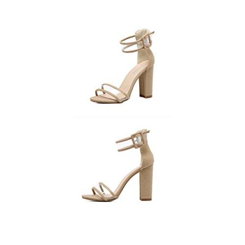 SHEO sandales à talons hauts Mme épais avec le mot boucle de mode sauvage européen et américain de talons hauts ( Couleur : Vert , taille : 36 ) Marron