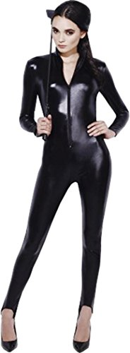 Damen Fancy Kleid Party Catwoman Outfit Fever Miss Whiplash Kostüm Catsuit, Schwarz (Catwoman Outfit Uk)