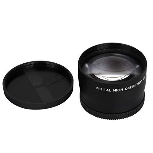 Digitalkamera Weitwinkelobjektiv Lens Fisheye-Objektiv Kameraobjektiv Kamera HD 58mm Telekonverter 2X Kamerahalterungsmultiplikator für alle 58mm SLR und Digitalkamera (Black)