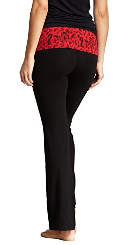 New Balance Mum Print Athletic Fold Over Yoga Lounge Pants - Black/Red - Medium Mum Black/Red