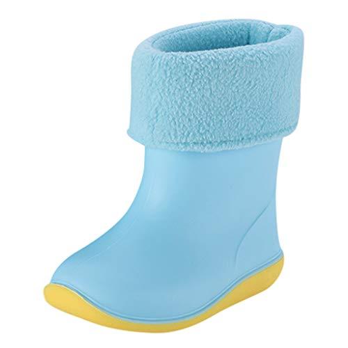 WEXCV Kinder Baby Schuhe Jungen Mädchen Halbschaft-Gummistiefel aus Naturkautschuk Nette Unisex Plus Samt Regenstiefel Trendige Bunte Regenstiefel