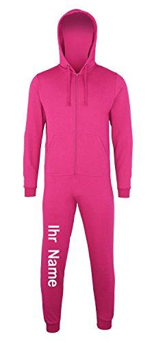 Sofasurfer® Overall Sweatoverall Jumpsuit Jumper mit und ohne Druck hot pink (mit Ihrem Namen)