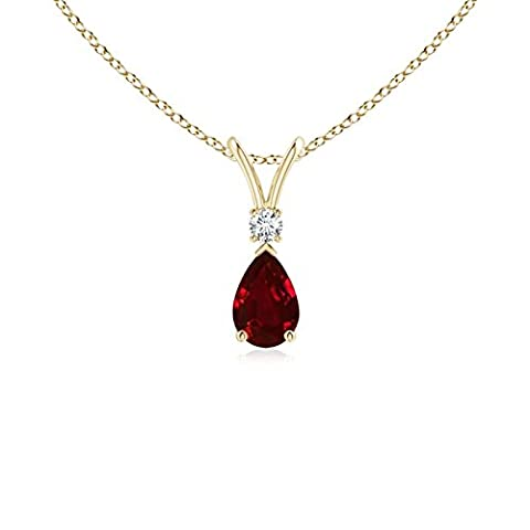 Pear Ruby Teardrop Pendant Necklace with Diamond in 14K Yellow Gold (6x4mm Ruby)