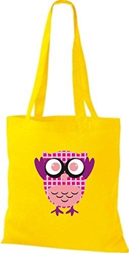 ShirtInStyle Jute Stoffbeutel Bunte Eule niedliche Tragetasche mit Punkte Karos streifen Owl Retro diverse Farbe, hellblau gelb