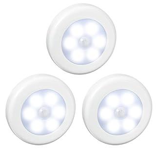 【Neue Version】AMIR Nachtlicht mit Bewegungsmelder, LED Bewegungsmelder Licht, Auto ON/OFF Nachtlicht, Batterie-Powered Treppen Licht, Schrankleuchten für Flur, Schlafzimmer, Küche (Weiß - 3pcs)