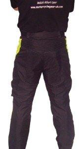 Bikers-Gear-UK-Pantaloni-Cordura-alta-visibilita-fluo-nero-e-giallo-impermeabile-e-traspirante-taglia-EU-42-Short-leg