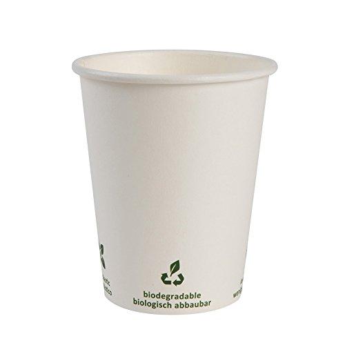 BIOZOYG Bio café en gobelet à Papier I Vaisselle compostable et biodégradable I Tasse en Carton à Boire I Café jetable Blanc avec Impression Icone 1000 pièces 200ml 8 oz