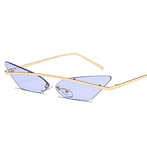 YOGER Sonnenbrillen Frauen Männer Cat Eye Randlose Sonnenbrille Schmale Vintage Metall Spiegel Objektiv Eyewear Shades Männer Sonnenbrille Uv400
