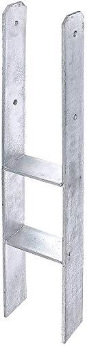 Gartenwelt Riegelsberger H-Pfostenträger 800 x 141 x 8 mm Bodenhülse Pfostenanker Pfostenschuh Anker Carport verzinkt