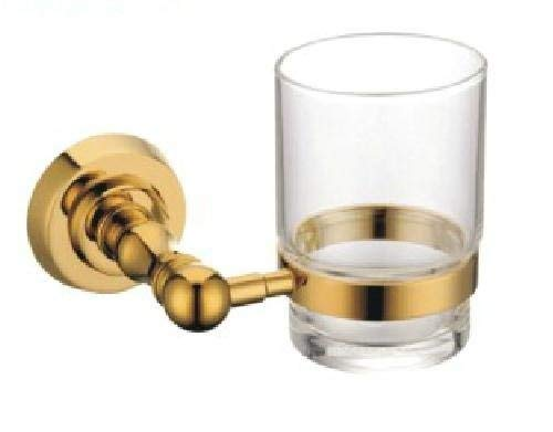 TACCY Single Tumbler/Toothbrush Glasses with Holder Brass Made in Polished Gold Finish #MT28A