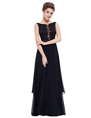 Ever Pretty Robe de Soiree Longue Elegante avec Col Rond 08806 Noir