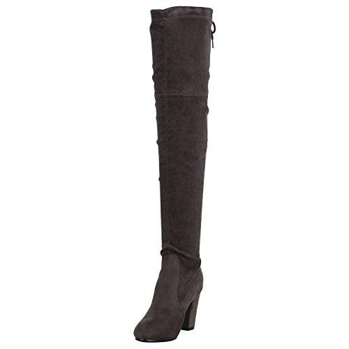 Stiefelparadies Damen Overknees Stiefel Veloursleder-Optik Schuhe Langschaftstiefel High Heels Boots Karneval Fasching Kostüm Polizistin Flandell Grau Grau