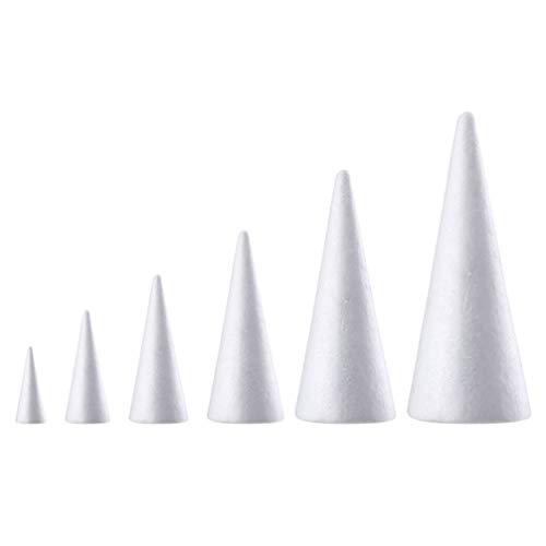Holibanna coni di schiuma polistirolo a forma di cono artigianato albero di natale bianco centrotavola centrotavola composizione floreale puntelli 12 pz 15 cm