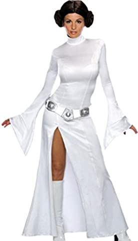 Confettery - Damen Princess Leia Star Wars Kostüm Kleid, Gürtel und Perücke, M, Weiß (Leia Organa Kostüm)