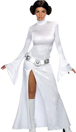 Confettery - Damen Princess Leia Star Wars Kostüm Kleid, Gürtel und Perücke, M, Weiß (Star Wars Ahsoka Kostüme Für Erwachsene)