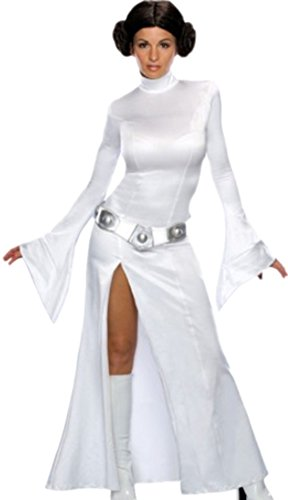 Zauberclown - Damen Princess Leia Star Wars Kostüm Kleid, Gürtel und Perücke, M, (Jabba Und Leia Kostüm)