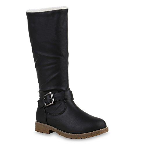 Warm Gefütterte Damen Stiefel Kunstfell Boots Winterstiefel Schuhe 126198 Schwarz 39 Flandell