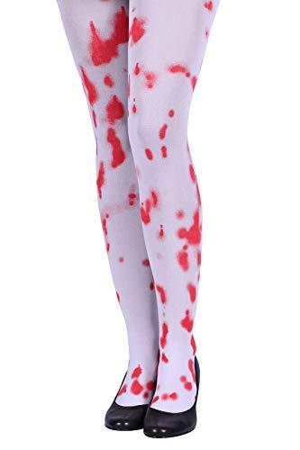 Hochwertige Strumpfhose mit Blut Rot Weiß Größe S M | Blutverschmierte Strümpfe für Damen | Krankenschwester Feinstrumpfhose mit Blutflecken | Kostüm-Zubehör für Karneval Fasching & Halloween