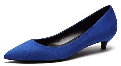 CAMSSOO Pumps Damen Schlupfschuhe Spitzen Zehenbereich Low Heels Party Schuhe,39 EU,Dk Blue Ve