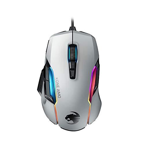 Roccat Kone AIMO Gaming Maus (hohe Präzision, Optischer Owl-Eye Sensor (100 bis 16.000 Dpi), RGB AIMO LED Beleuchtung, 23 programmierbare Tasten, Designt in Deutschland, USB), weiß(remastered)