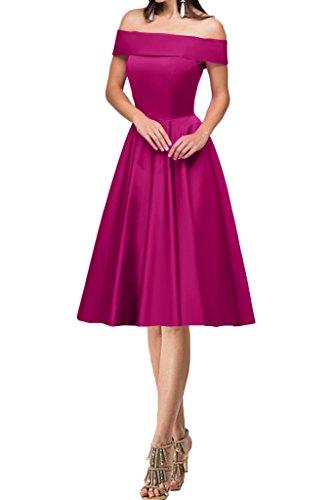 Ivydressing Damen Modern U-Ausschnitt Satin A-Linie Lang Partykleid Promkleid Festkleid Abendkleid Fuchsie-Kurz