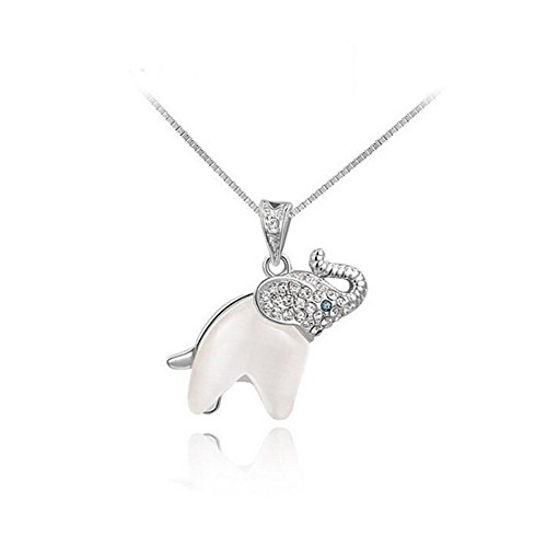 Gudeke Niñas Elefante Colgante, Collar Plateado Oro de la Cadena Cristales (Plata)