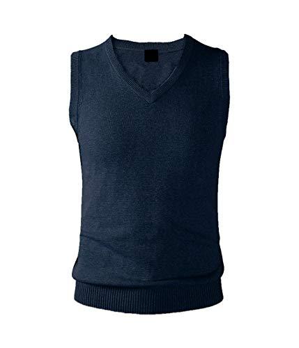 AIEOE - Chaleco de Punto de Invierno para Hombre Suave Calentito Jersey sin Mangas Clásico Elegante para Negocios Oficina Sweater Suéter - Azul Marino - M