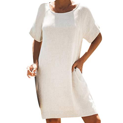 gen Leinenkleider Damen Sommerkleider Knielang Kleid Kurzarm Kleid Einfarbige Lose Shirtkleider Eleganter Kleid (Beige, EU-44/CN-2XL) ()