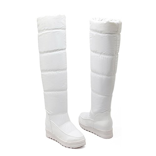 AgooLar Damen Pu Leder Überknie Hohe Stiefel Stiefel Rein Ziehen Auf Mittler Absatz Stiefel Weiß