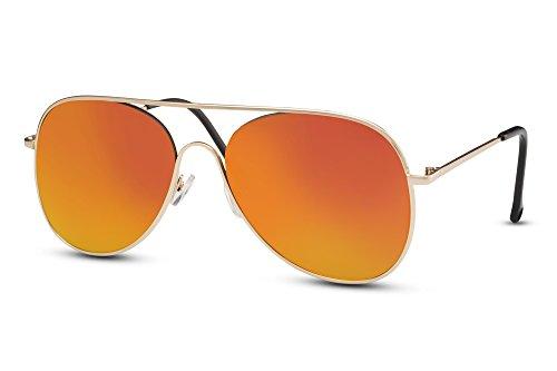 e Gold Pilotenbrille Verspiegelt UV400 Designerbrille Metall Damen Herren (60er Jahre Biker)