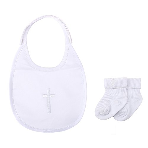 DELEBAO Baby Taufe Lätzchen Taufe Socken Weiß Stirnband Satz Baby Jungen Mädchen Besticktes Kreuz Tauflätzchen Taufsocken (Lätzchen und Jungen Socken)