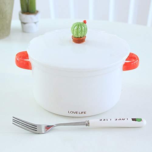 RKY Bol- Bol - Bol de nouilles instantanées à l'oreille de style japonais avec un joli bol à soupe en céramique à la maison de cactus et une fourchette pour cadeau - 4 couleurs /-/