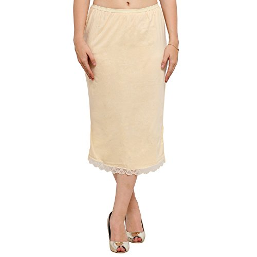 Ziya Pure Cotton Skirt Slip With Side-slit (Beige, Medium)  available at amazon for Rs.399