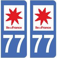 2 autocollants 77 Seine et Marne ile de france plaque immatriculation département auto 77 : angles arrondis