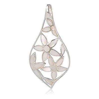 Cadeau bijoux-Pendentif - Nacre blanche- Fleur-Argent massif-Femme