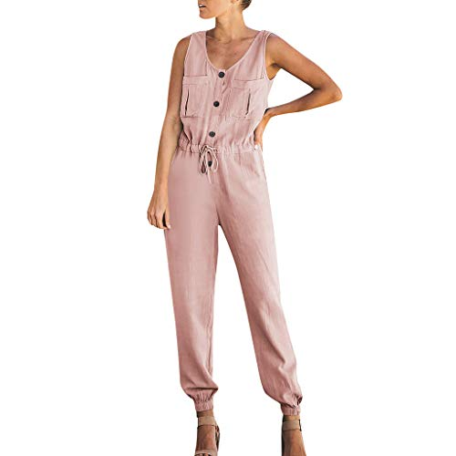 los V Ausschnitt Overall Einfarbig Lose Button Casual Elegant Sommer Lange Overall Playsuit ()