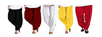 Spangel Fashion Women's Soft Cotton Full Stitched Ready made Patiala Salwar Combo Pack Of 3 (Bottom_Black, Maroon, White_Free Size)