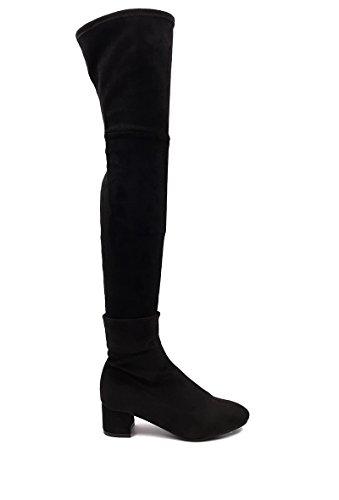 CHIC NANA . Chaussure femme cuissarde à talon, effet suédine, dotée d'un bout rond et d'un talon large.