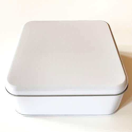 Bunter Vogel Blechdose mit Deckel, quadratisch, weiß lackiert, ohne Aufdruck. ALS Aufbewahrungsdose/Aufbewahrungsbox (Packungsgröße 3 Stück) -