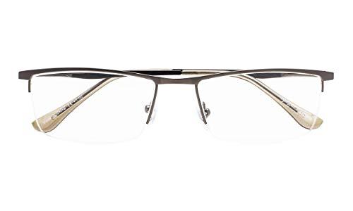 Eyekepper Qualität HalbrandLesebrille mit Federscharniere in metallisches Blaugrau +3.50