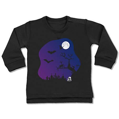 (Shirtracer Anlässe Baby - Friedhof gruselig Totenkopf Mond - 12-18 Monate - Schwarz - BZ31 - Baby Pullover)