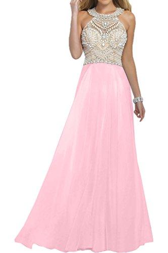 La_mia Braut Damen Rosa Luxurioes Chiffon Abendkleider Ballkleider Partykleider Bodenlang A-linie Rock Rosa