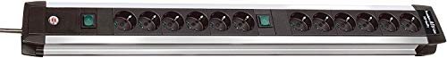 Brennenstuhl Premium-Alu-Line, Steckdosenleiste 12-fach - Steckerleiste aus hochwertigem Aluminium (mit 2 Schaltern und 3m Kabel) Farbe: schwarz